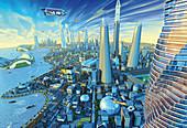 Future eco-friendly city, illustration