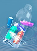 Plastic pollution, illustration