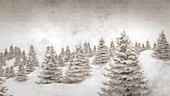 Vintage winter background, illustration