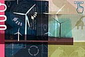 Renewable energy collage, illustration