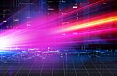 Bright lights streaming across grid, illustration