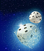 Dice and mathematical equations in space, illustration