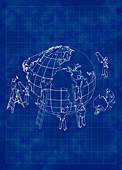 People working on globe, illustration