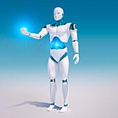 Android holding light, illustration