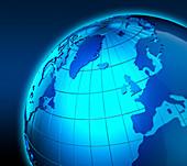 Globe focused on United Kingdom and Europe, illustration