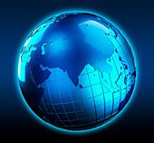Blue globe focused on India, illustration