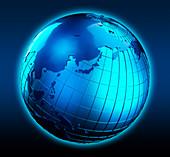 Blue globe focused on Japan, illustration