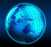 Blue globe focused on Australia, illustration