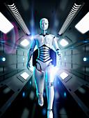 Female android running, illustration