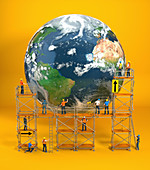 Construction workers repairing Earth, illustration