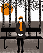 Woman in coat sitting on park bench, illustration