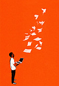 Man holding laptop watching papers fly away, illustration