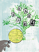 Hand holding magnifying glass on family tree, illustration