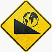 Yellow caution sign with globe rolling, illustration
