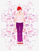 Woman on scale and healthy food, illustration