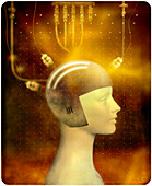 Person in thought control helmet, illustration