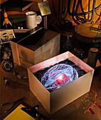 New glowing brain in box on workbench, illustration