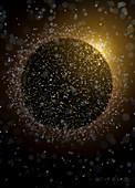 Planet emitting bubbles, conceptual illustration