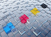 CMYK coloured cubes, illustration