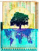 Digital tree, conceptual illustration