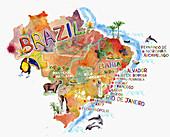 Stylized map of Brazil, illustration