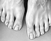 Close up of man's feet, illustration