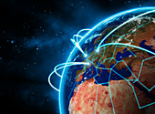 Glowing lines circling globe, illustration