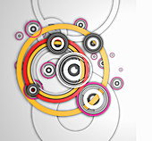 Overlapping concentric circle pattern, illustration