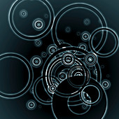 Negative image of concentric circle pattern, illustration