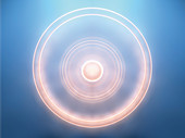 Glowing concentric spinning circles, illustration