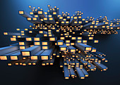 Abstract pile of girders with glowing lights, illustration