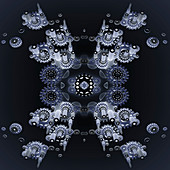 Symmetrical pattern of cogs, illustration