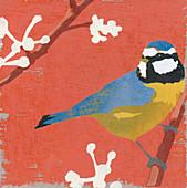 Blue Tit perching on budding branch, illustration