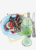 Plate of seafood and glass of white wine, illustration