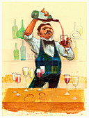 Waiter pouring red wine, illustration