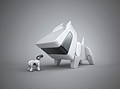 Large and small robotic dog, illustration