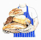 Artisan baker holding loaves of bread, illustration