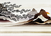 Blooming tree and mountains, illustration