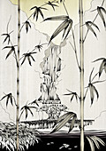 Bamboo growing near waterfall, illustration