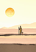 Mother and daughter standing under sun, illustration