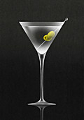 Olives in martini cocktail, illustration