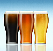 Lager, bitter and stout beers, illustration