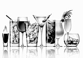 Variety of cocktails in a row, illustration