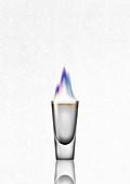 Flaming shot glass, illustration