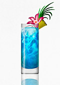 Blue Hawaiian tropical cocktail drink, illustration