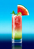 Tropical watermelon cocktail drink, illustration