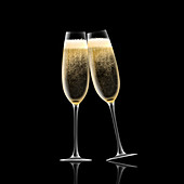 Two champagne flutes toasting, illustration