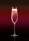 Single pink champagne in flute, illustration