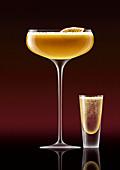 Pornstar martini cocktail with champagne shot, illustration