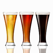 Row of lager, bitter and stout beer, illustration